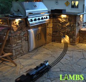 Train and Outdoor Kitchen Landscape Lighting Arlington, TX.
