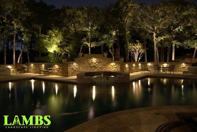 Wall Lights and Pool Night Arlington, Texas